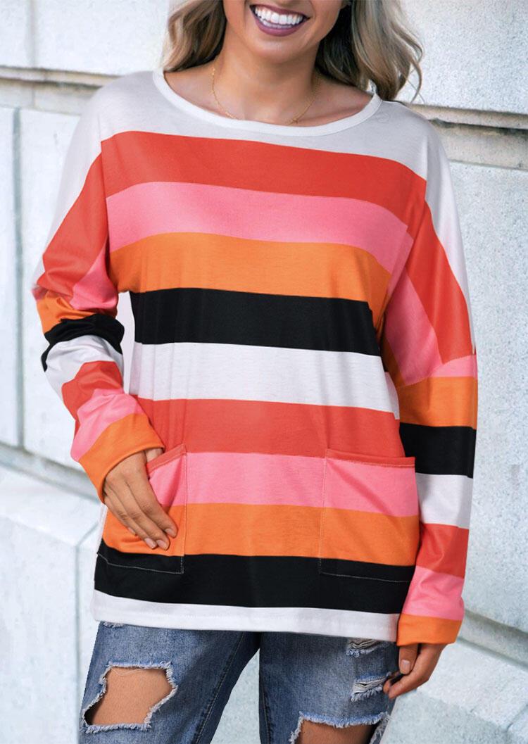 Striped O-Neck Pocket Blouse