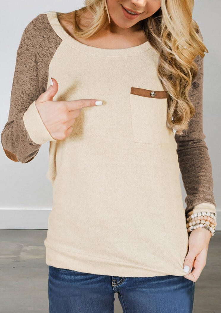 Color Block Elbow Patch Pocket T-Shirt Tee – Apricot