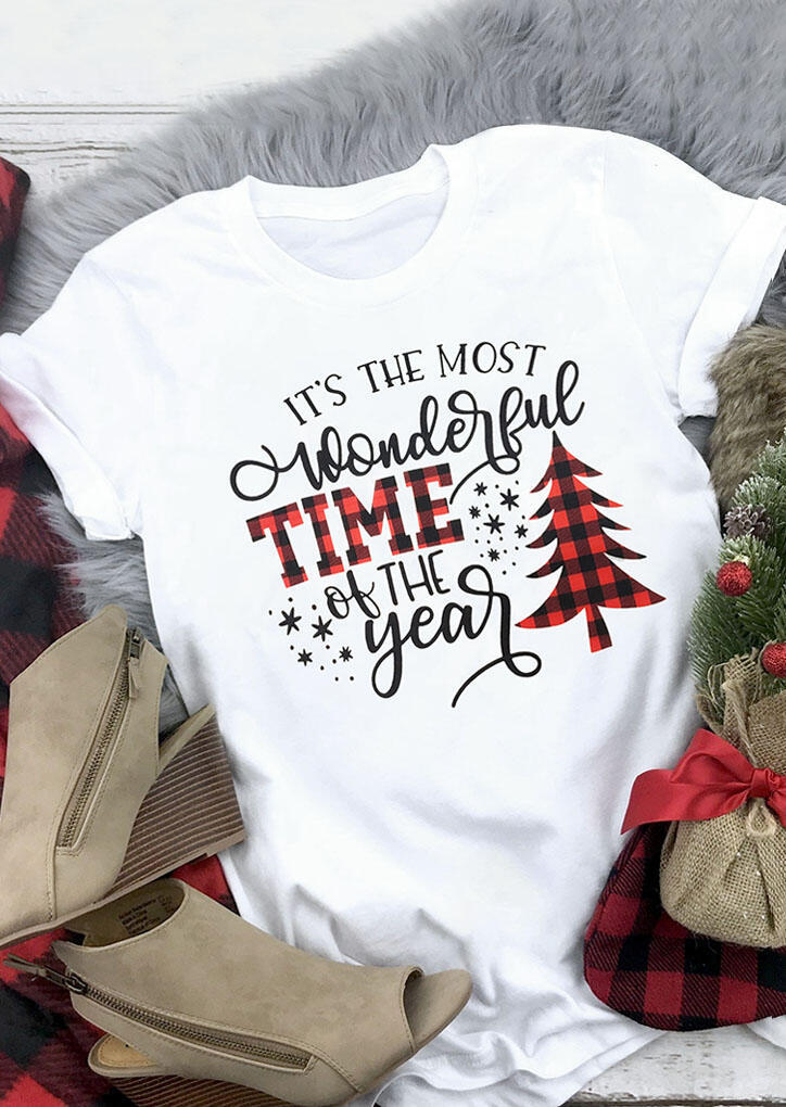 Tees T-shirts Christmas Wonderful Time Of The Year T-Shirt Tee in White. Size: S,M,L,XL,2XL,3XL фото