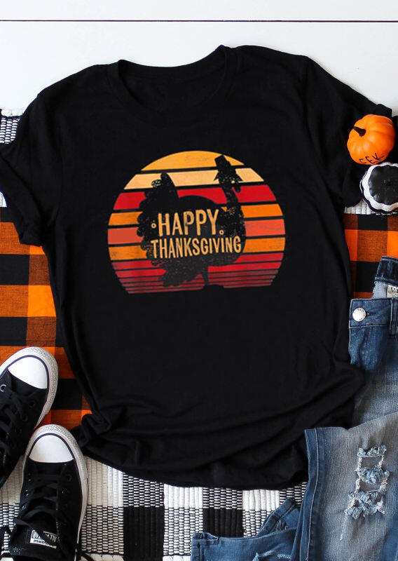 Happy Thanksgiving Turkey O-Neck T-Shirt Tee – Black