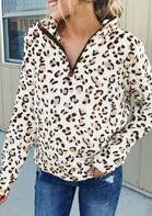 Leopard Zipper Plush Long Sleeve Sweatshirt
