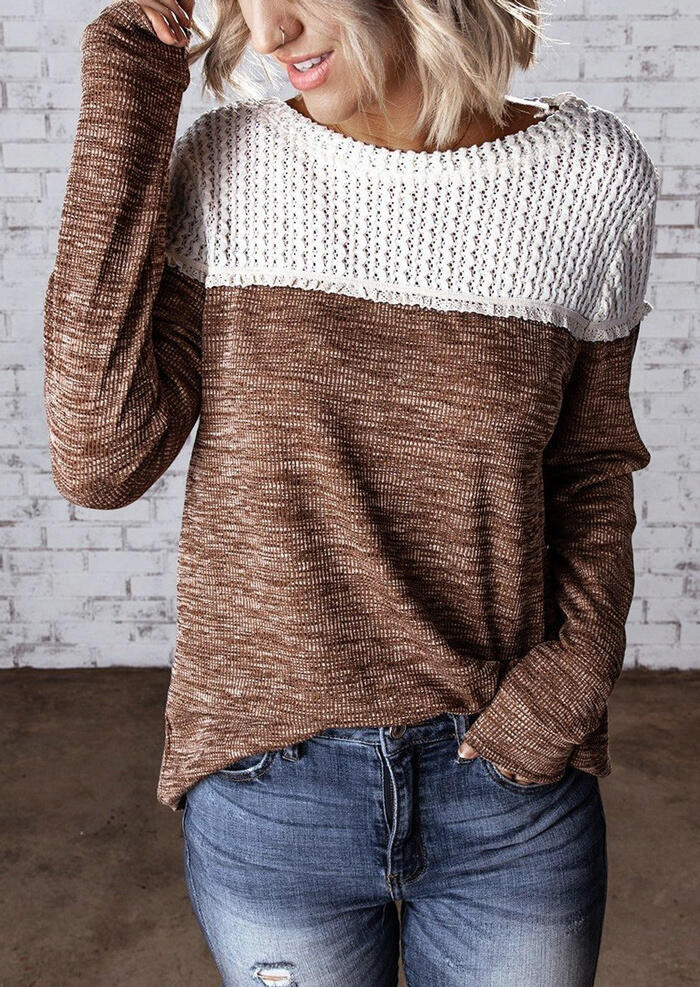 Color Block Knitted Splicing Blouse – Brown