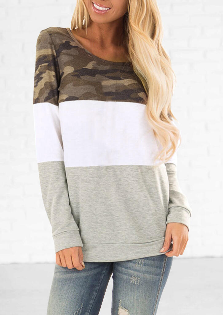 Camouflage Printed Color Block Splicing T-Shirt Tee