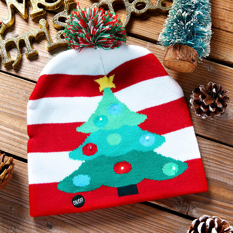 Christmas Tree Striped Knitted Hat with LED Light
