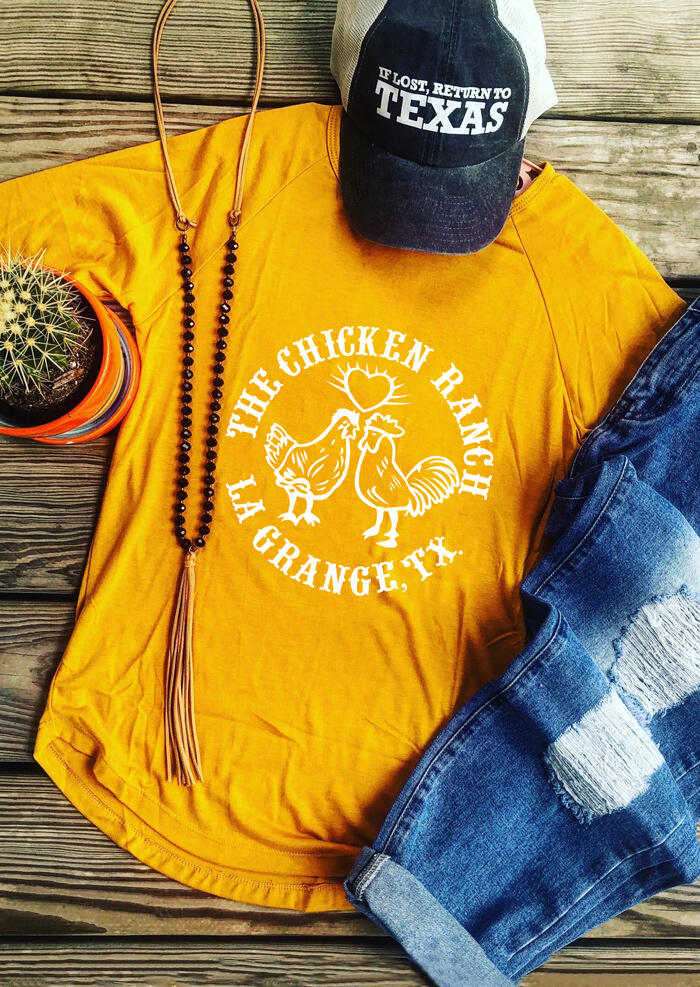 The Chicken Ranch O-Neck T-Shirt Tee – Yellow