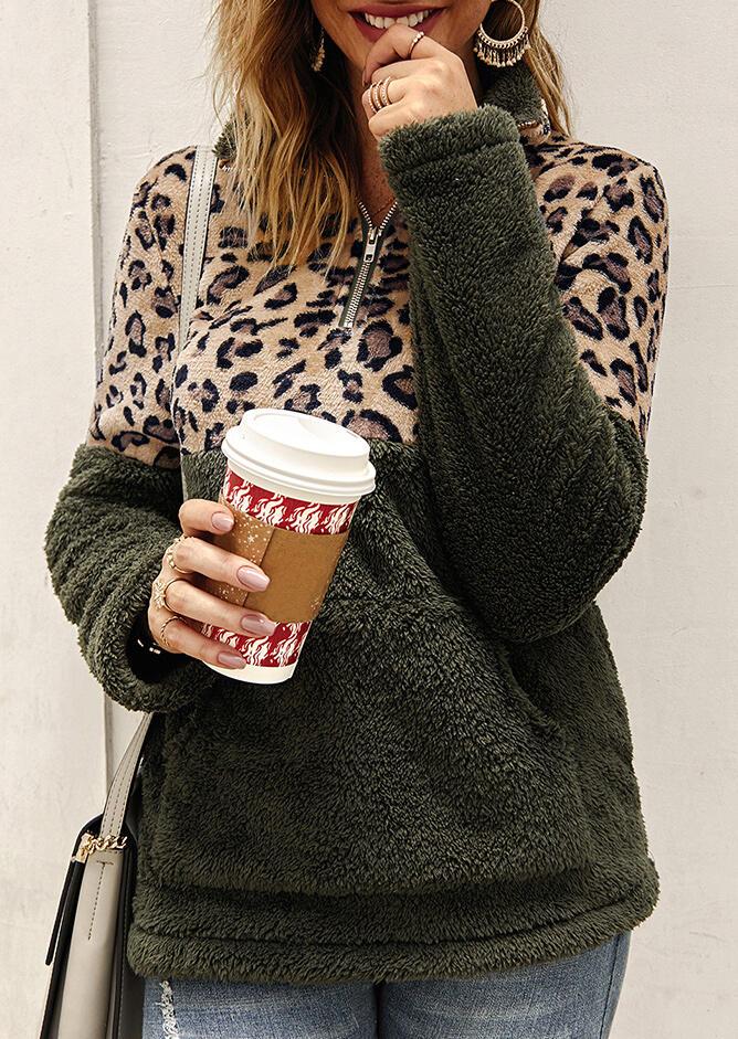 Leopard Splicing Plush Warm Sweatshirt - Army Green фото