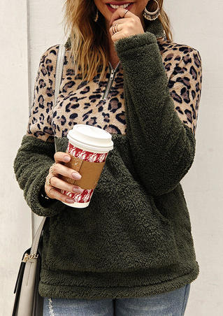 Leopard Printed Splicing Plush Warm Sweatshirt - Army Green