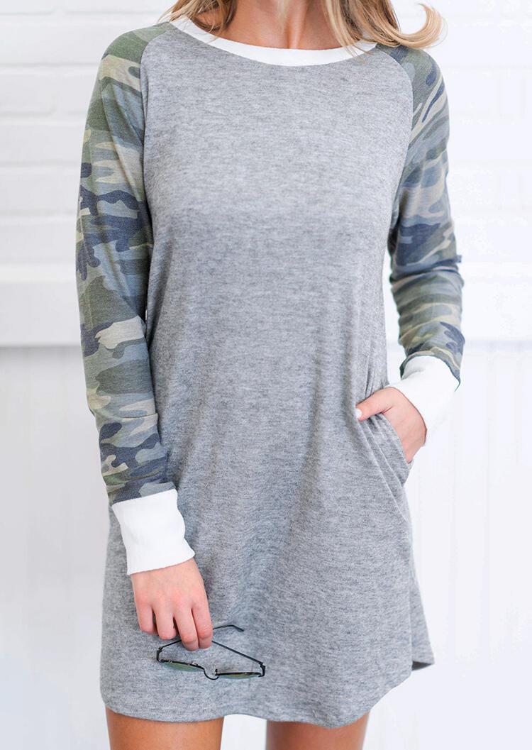 Camouflage Printed Splicing Pocket Mini Dress – Gray