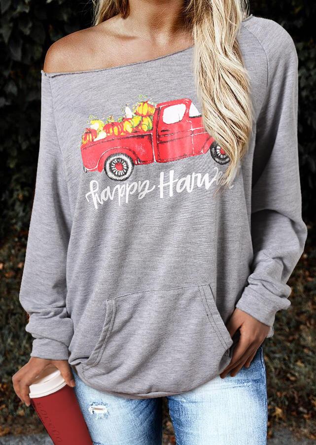 Happy Harvest Pumpkin Car Sweatshirt – Gray