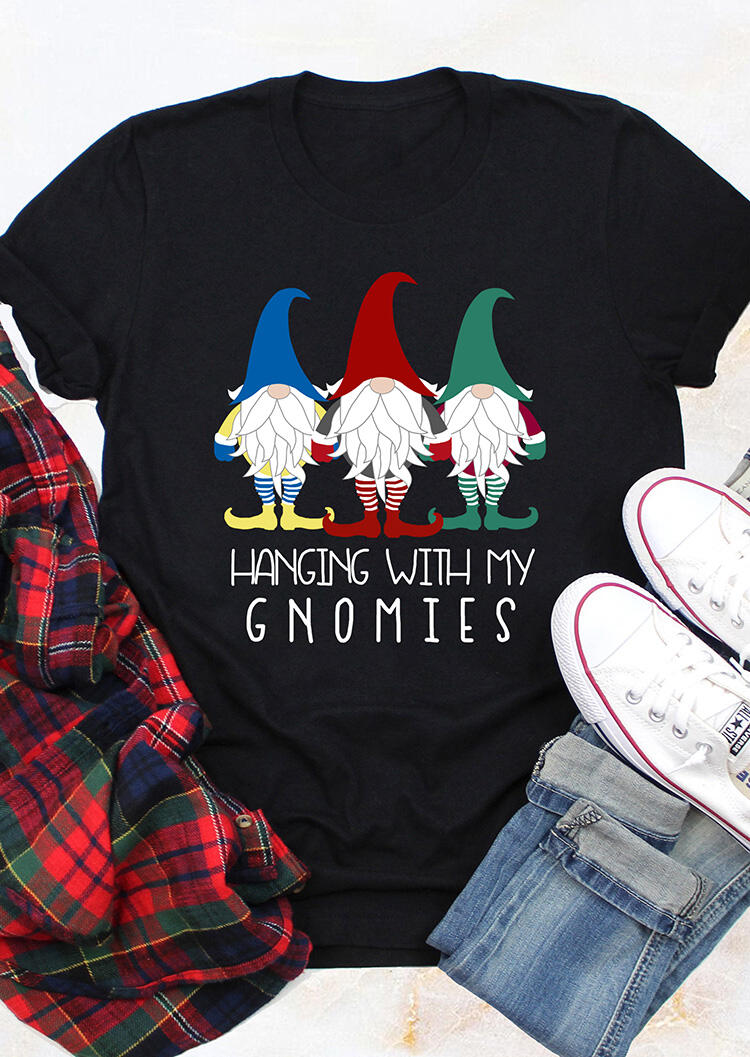 Tees T-shirts Hanging With My Gnomies T-Shirt Tee in Black. Size: S,M,L,XL фото