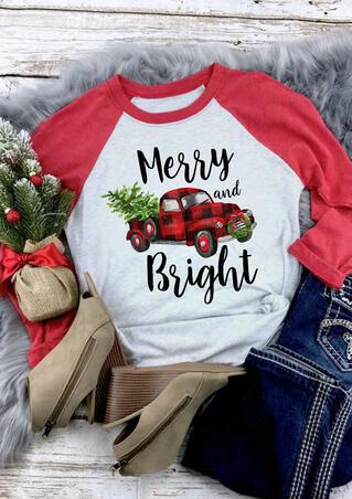 Plaid Car Merry And Bright T-Shirt Tee - Light Grey