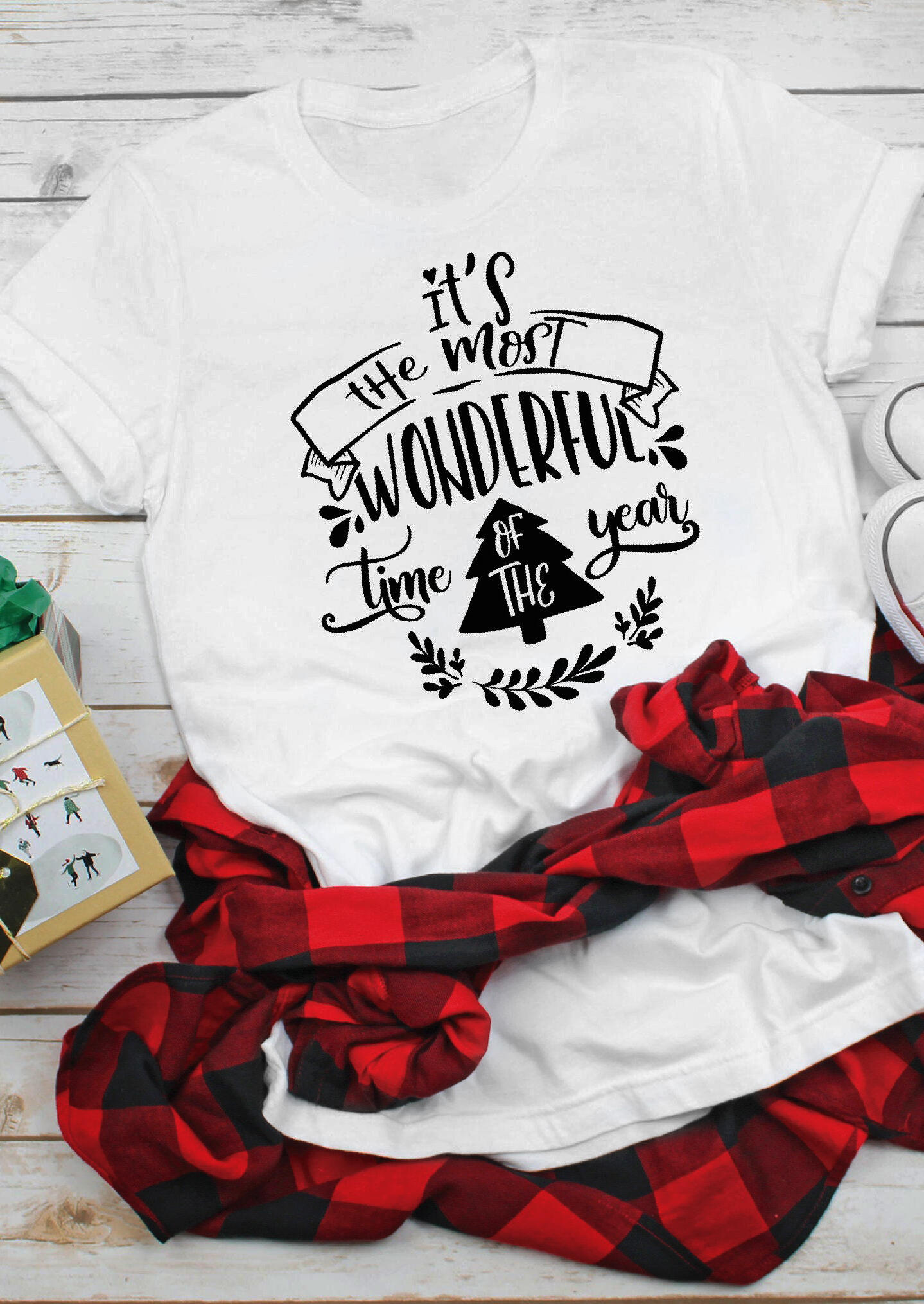 Tees T-shirts It's The Most Wonderful Time Of The Year Christmas T-Shirt Tee - White. Size: S,M фото