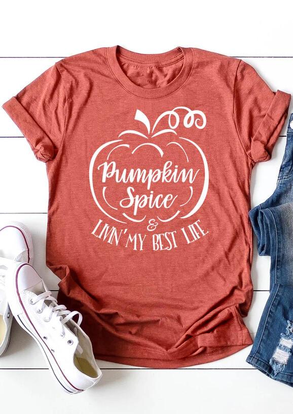 Pumpkin Spice & Livin' My Best Life T-Shirt Tee – Brick Red