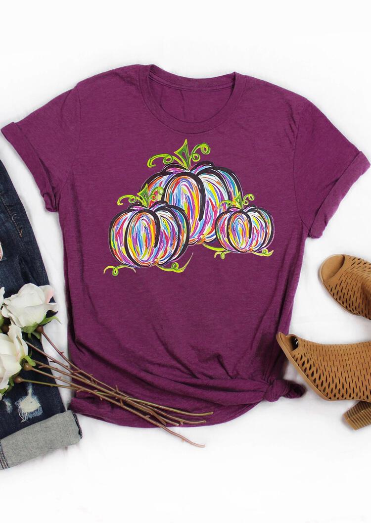 Colorful Pumpkin T-Shirt Tee – Plum