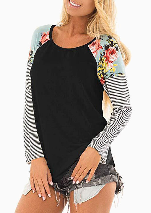 Floral Striped Splicing O-Neck T-Shirt Tee – Black
