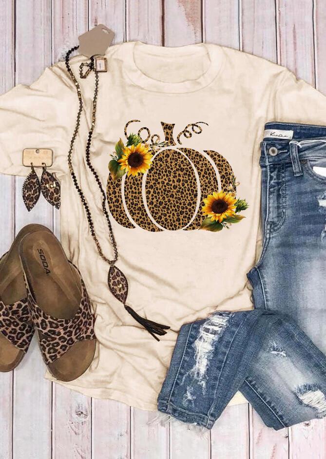 Leopard Printed Pumpkin Sunflower T-shirt Tee – Beige
