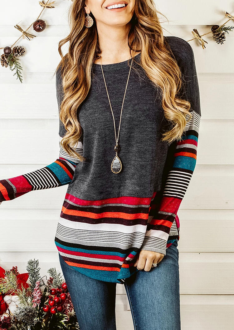 Colorful Striped Splicing Blouse without Necklace - Dark Grey фото