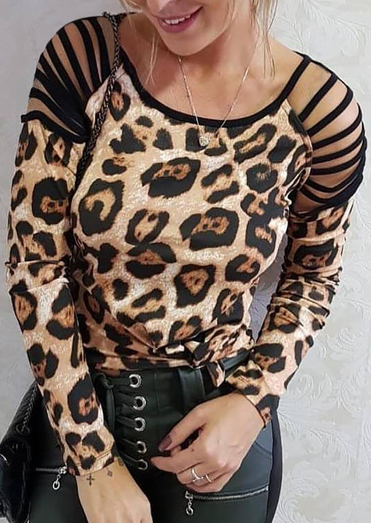 Leopard Printed Splicing Hollow Out Blouse without Necklace