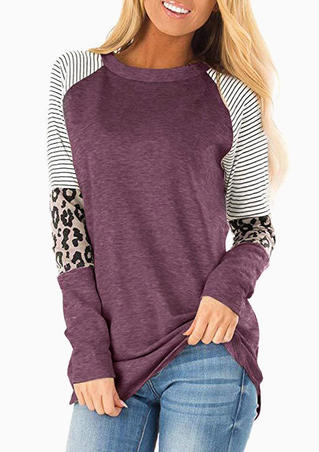 Striped Splicing Leopard Printed T-Shirt Tee - Cameo Brown