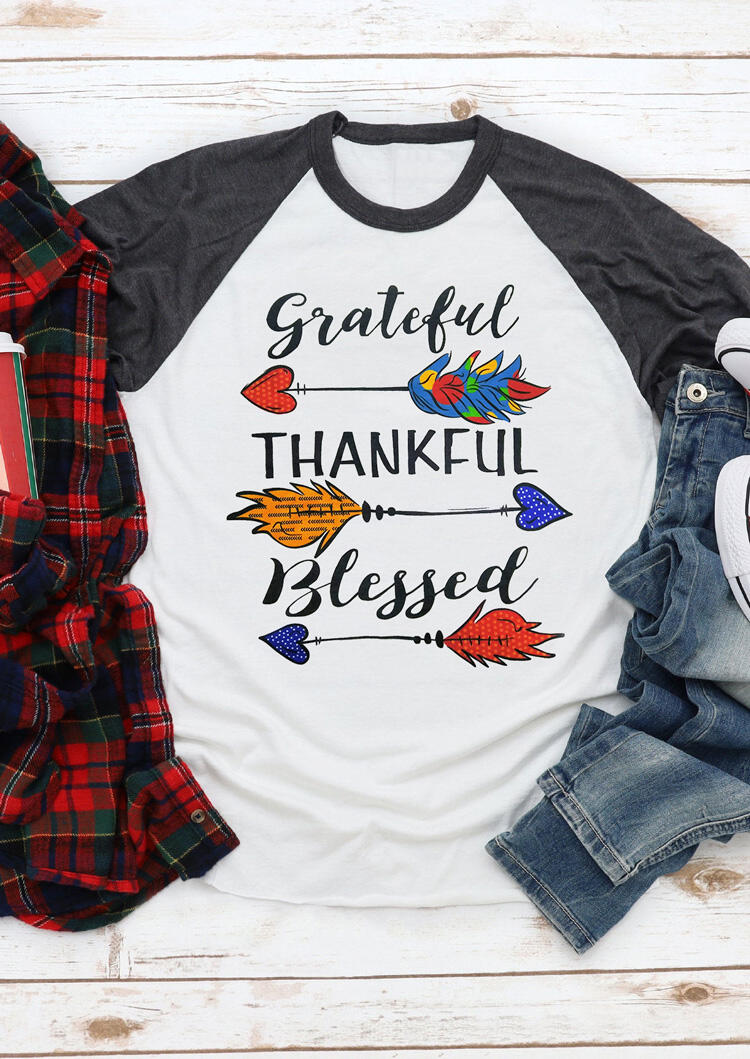 Grateful Thankful Blessed Arrow T-Shirt Tee – White