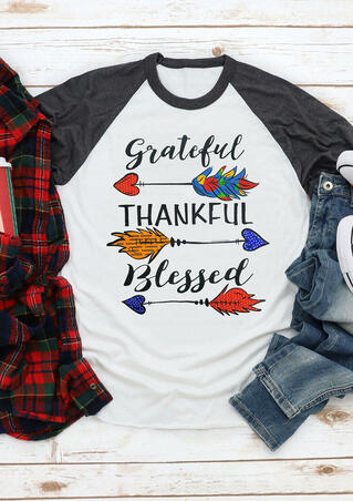 Grateful Thankful Blessed Arrow T-Shirt Tee - White