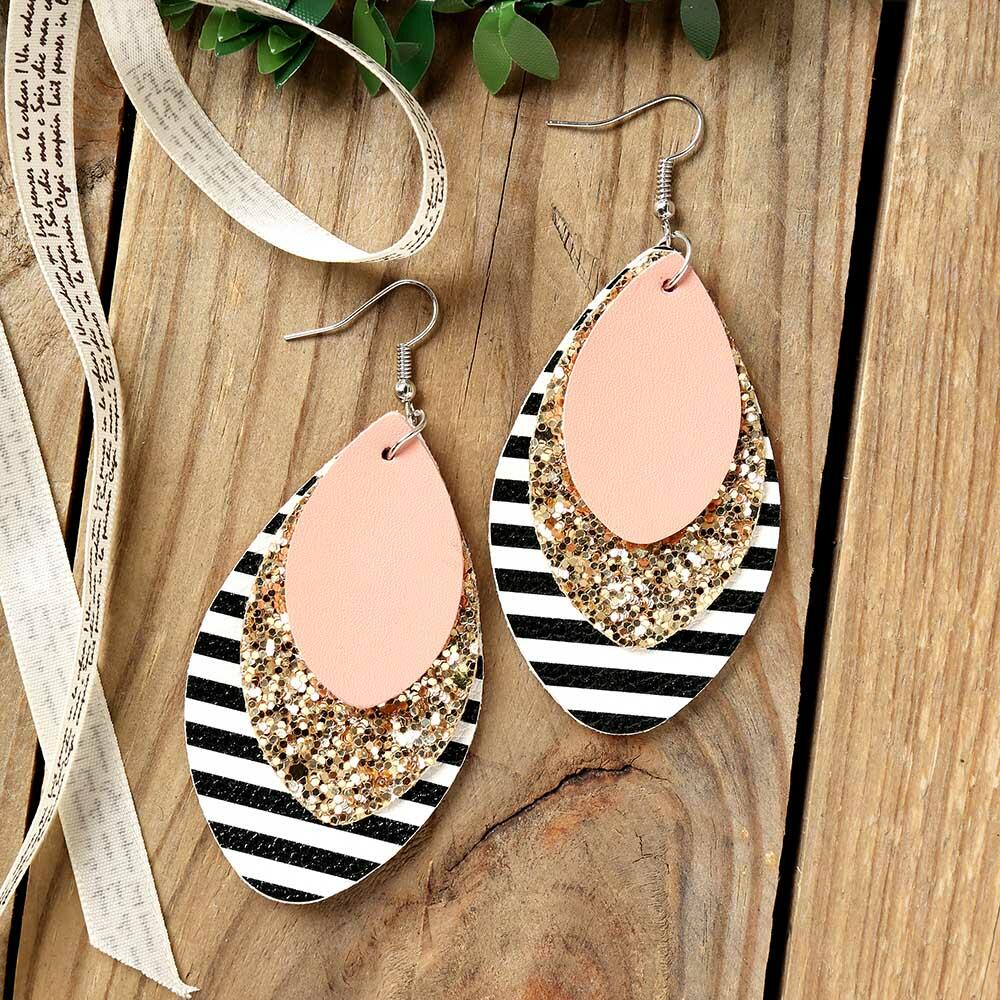 Multi-Layered Sequined Striped Leather Earrings фото