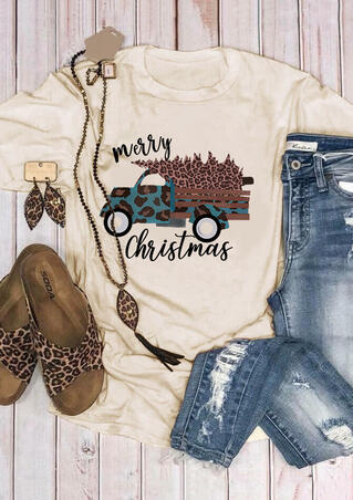 Merry Christmas Leopard Printed Car T-Shirt Tee - Light Yellow