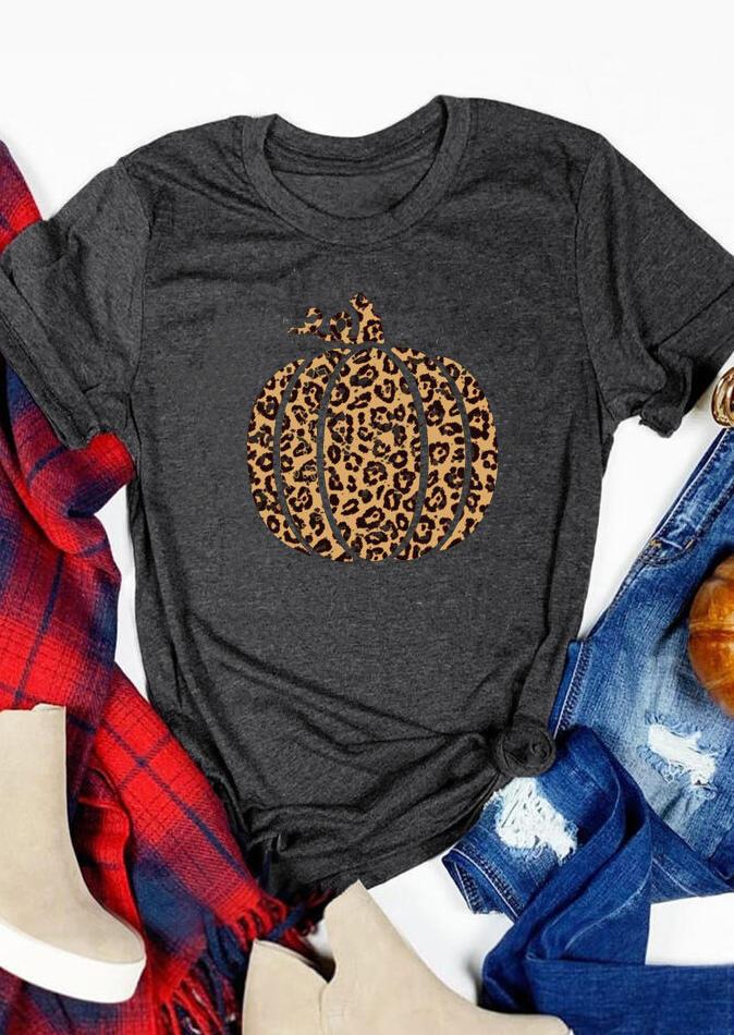 Leopard Printed Pumpkin O-Neck T-Shirt Tee – Dark Grey