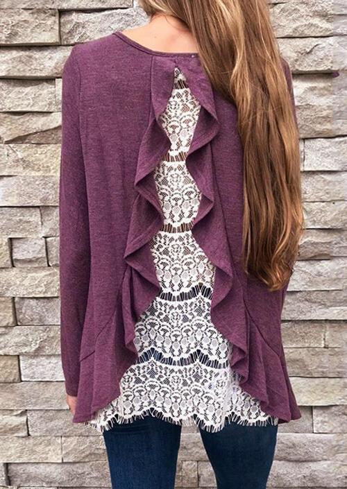Back Lace Splicing Ruffled Blouse – Purple