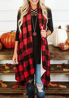 Plaid Splicing Asymmetric Cardigan without Necklace - Red