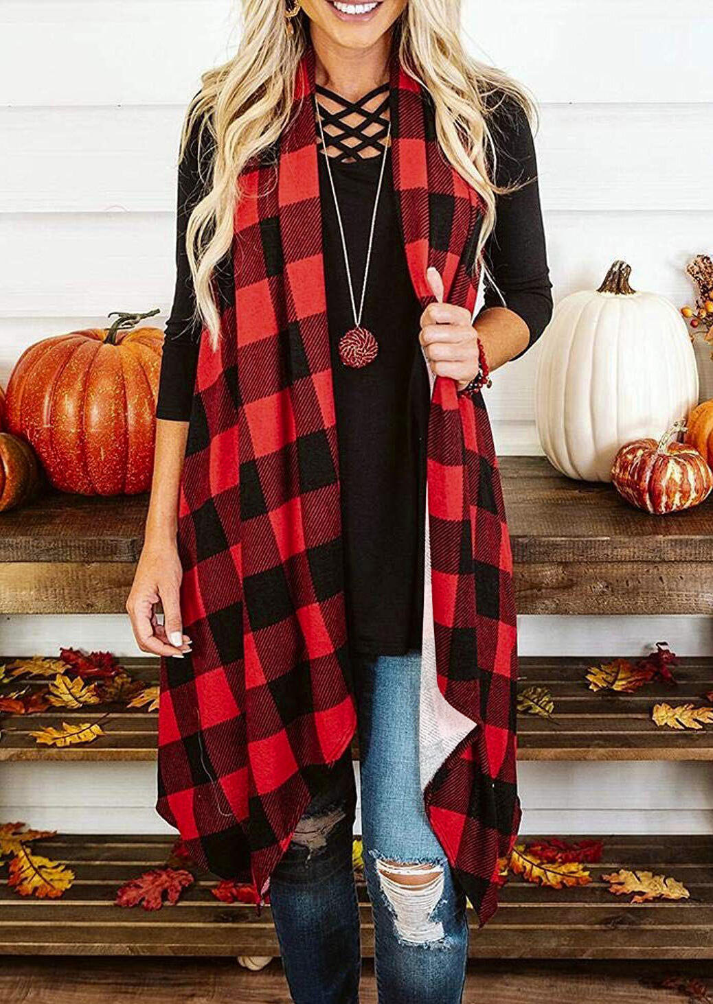 Red Plaid Sleeveless Splicing Asymmetric Cardigan For Women in Red. Size: S,M,L,XL фото