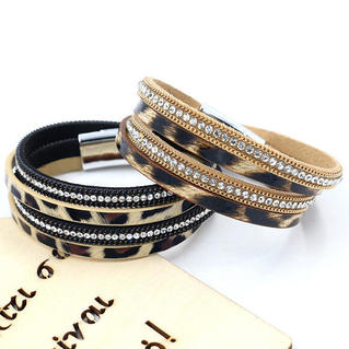 Leopard Printed Rhinestone Dual-Layered Magnetic Buckle Bracelet
