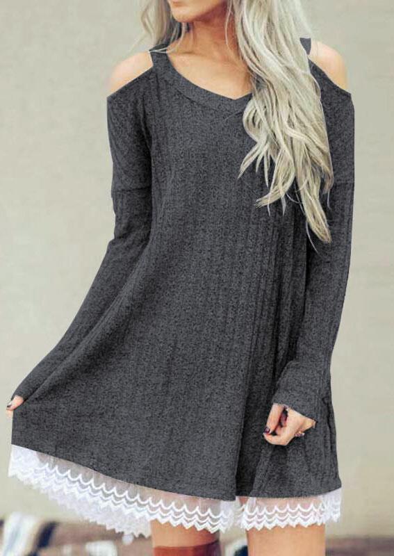Solid Lace Splicing Cold Shoulder Mini Dress – Dark Grey