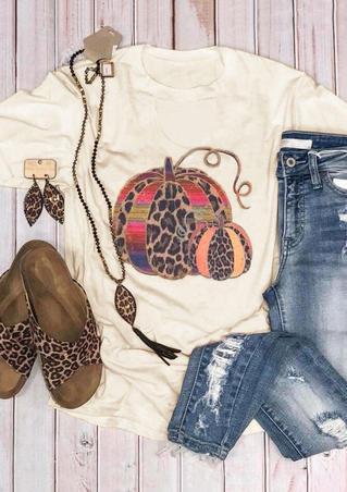 Leopard Printed Pumpkin T-Shirt Tee - Beige
