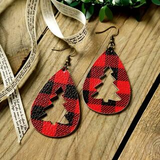 Plaid Hollow Out Christmas Tree Leather Earrings