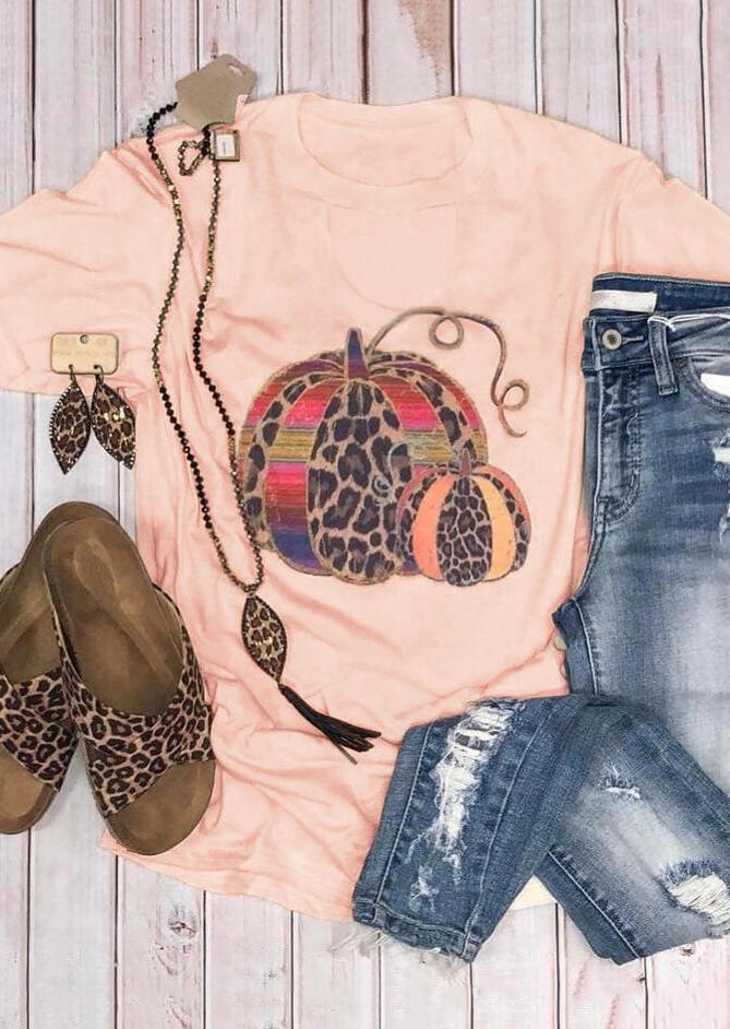 Leopard Printed Pumpkin T-Shirt Tee – Pink