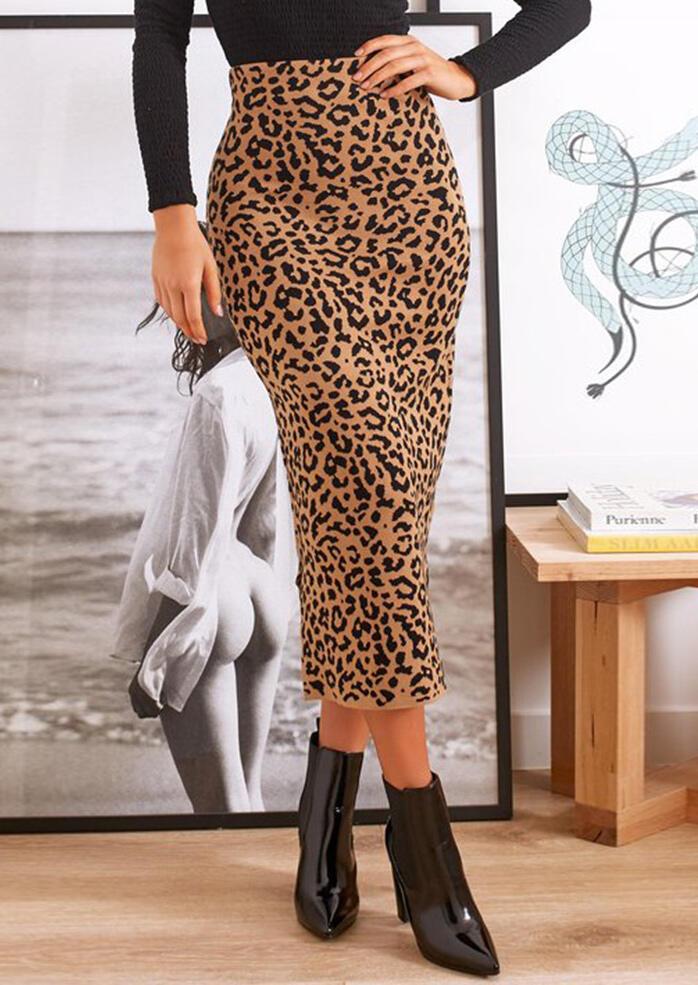 Leopard Printed Slit Long Skirt