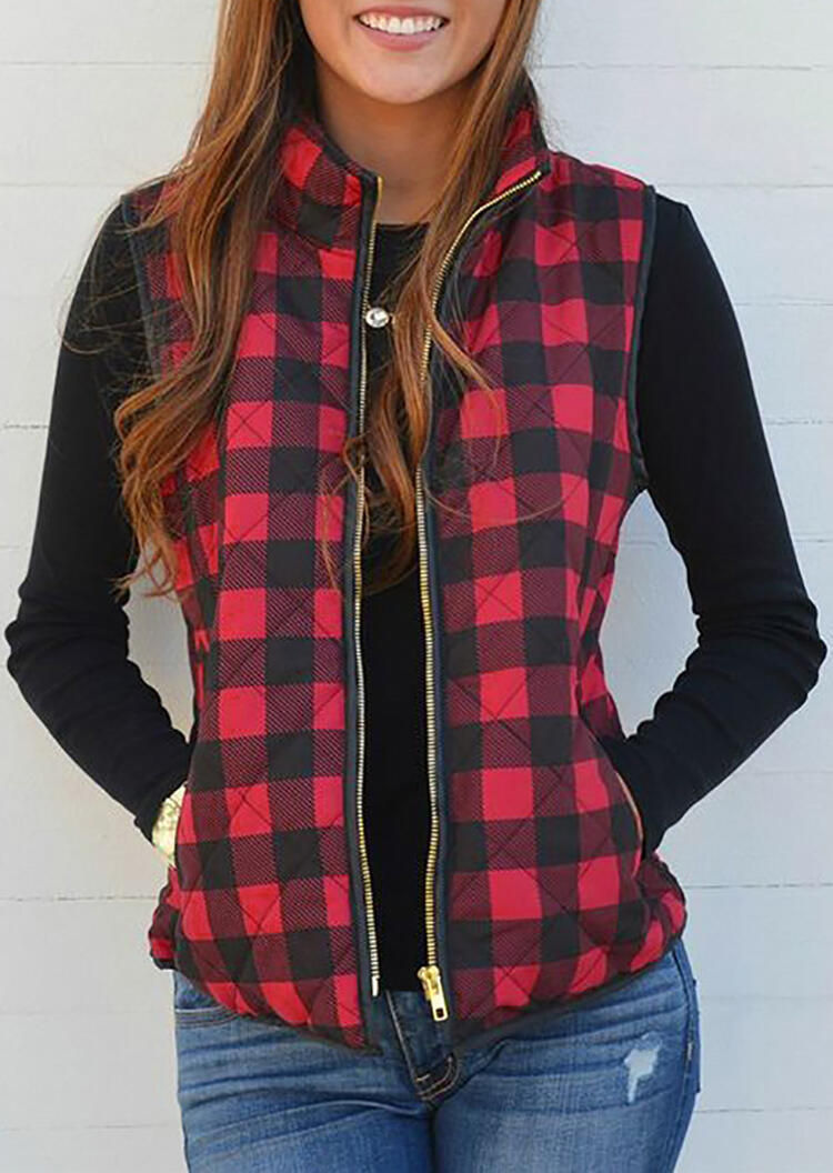 Plaid Pocket Sleeveless Vest Coat without Necklace – Red