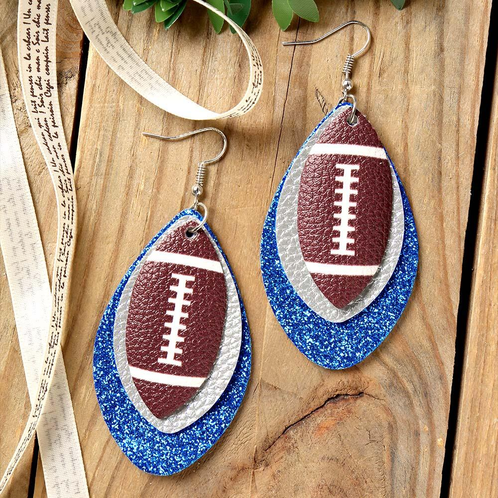 Earrings Football Sequined Three-Layered PU Leather Earrings in Black,Purple,Royal Blue. Size: One Size фото
