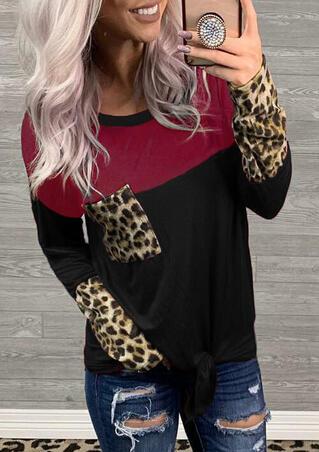 Leopard Printed Color Block Splicing Pocket Tie Blouse - Black