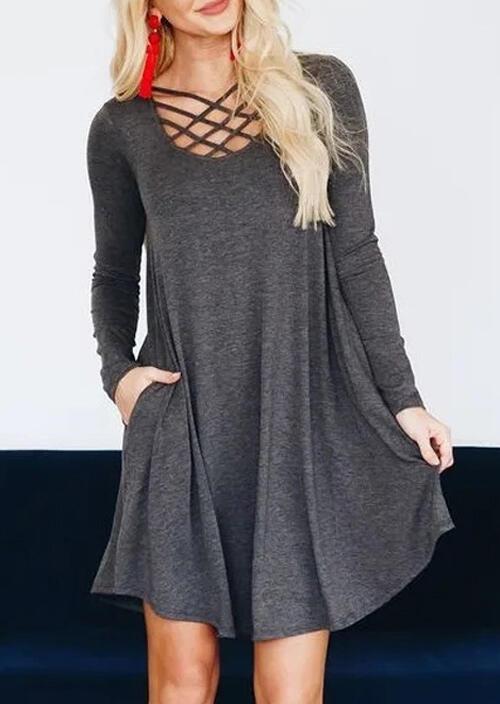 Solid Criss-Cross Pocket Mini Dress – Gray