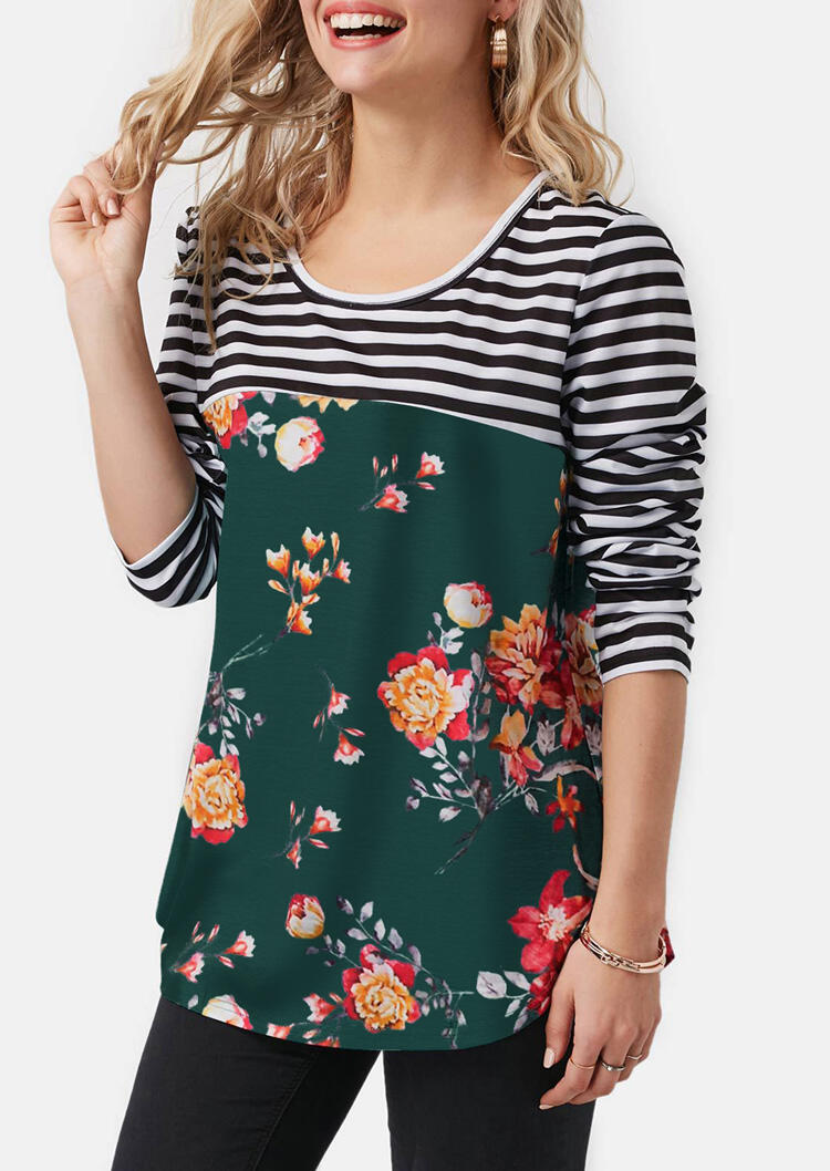 Striped Floral Lace Splicing Button T-Shirt Tee