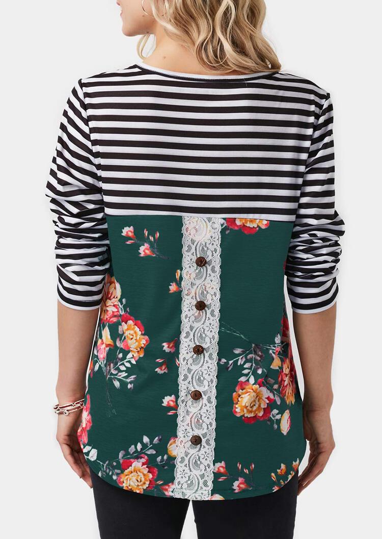 FairySeason / Striped Floral Lace Splicing Button T-Shirt Tee