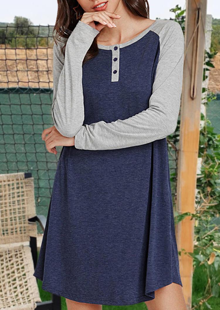 Color Block Button Mini Dress – Blue