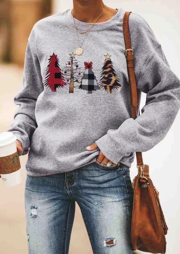 Christmas Trees Plaid Sweatshirt without Necklace - Gray фото