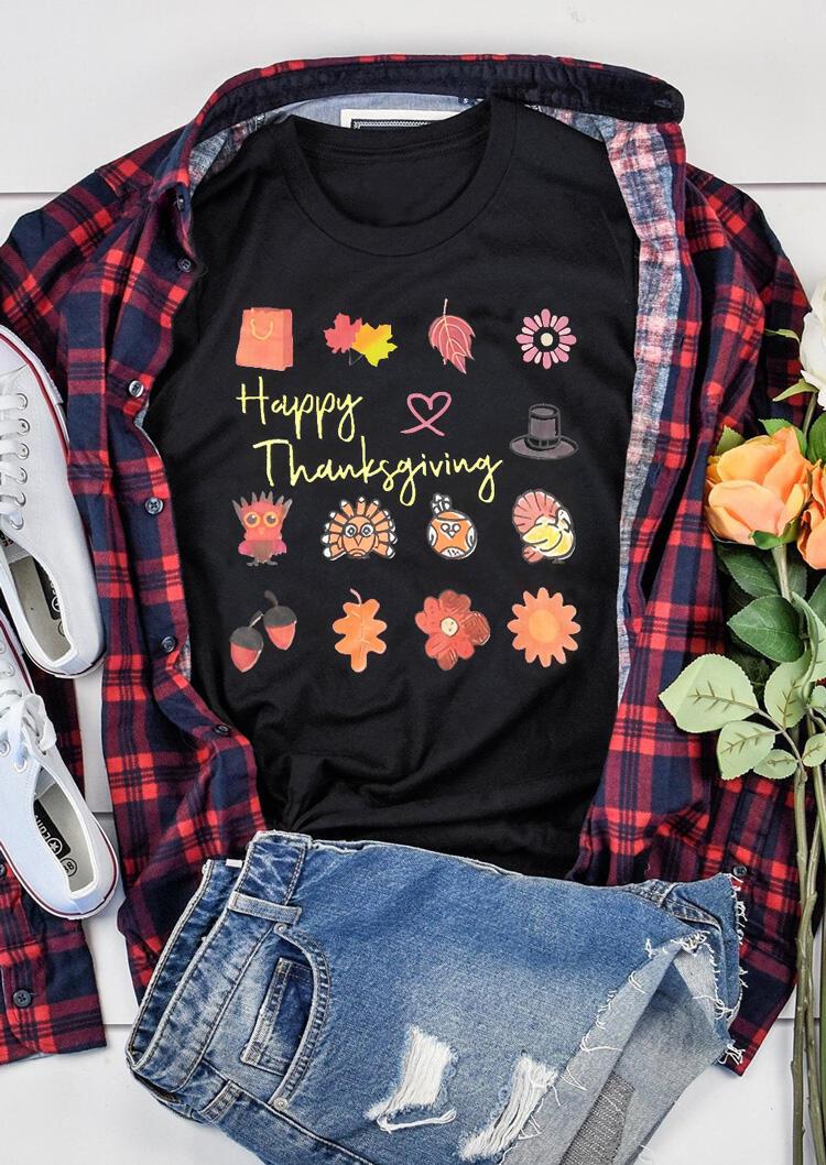 Happy Thanksgiving O-Neck T-Shirt Tee – Black