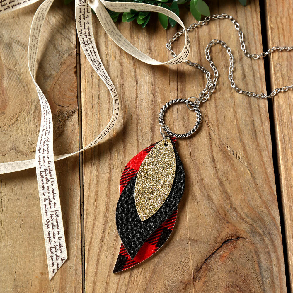 Plaid Sequined Leaf Multi-Layered Necklace фото