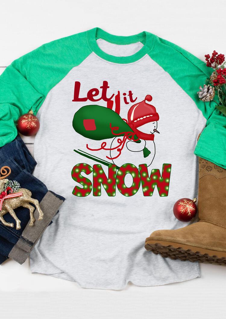 Christmas Let It Snow T-Shirt Tee – Light Grey