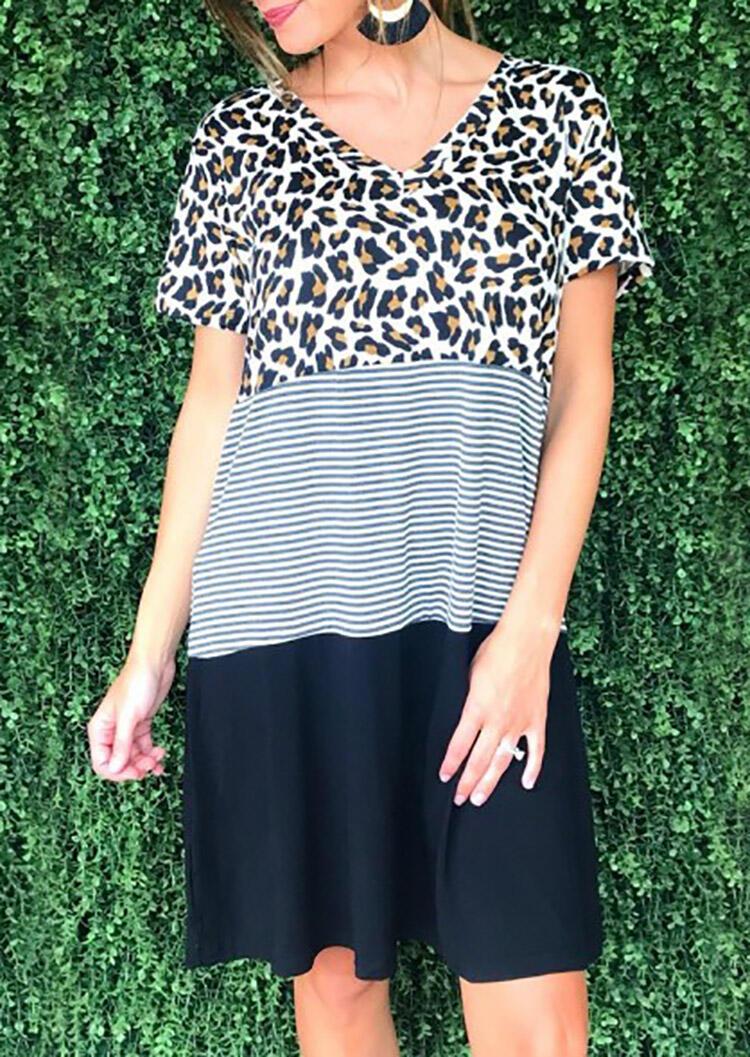 Leopard Printed Striped Splicing V-Neck Mini Dress