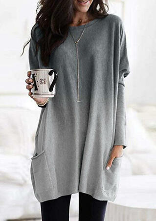 Gradient Color Long Sleeve Pocket Mini Dress without Necklace - Gray